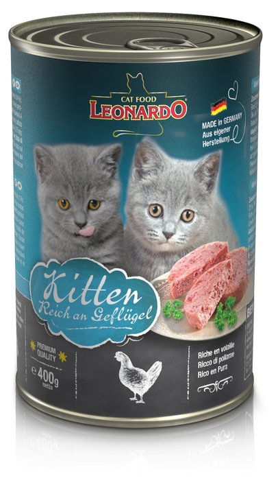 Leonardo Cat Cans Kitten with Poultry 400g