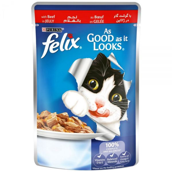 Purina Felix As Good as it Looks Wet Cat Food Pouch-- Beef 100 g