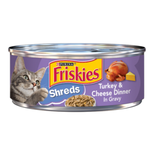 Purina Friskies Shreds Turkey & Cheese Dinner in Gravy Wet Cat Food 156 g