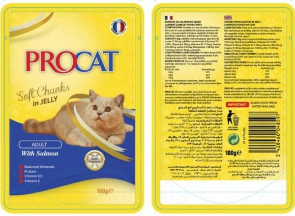 Procat Soft Chunks in Jelly -Salmon 100g