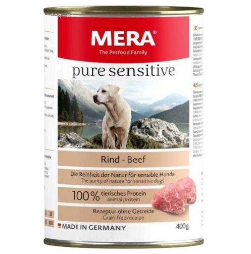 MERA PURE SENSITIVE WITH RIND – BEEF 400G DOG CAN